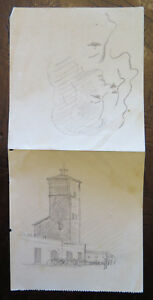 Drawing Sketch Antique On Back of A Bill of Exchange Studio Faces Female P28.5 $19.93