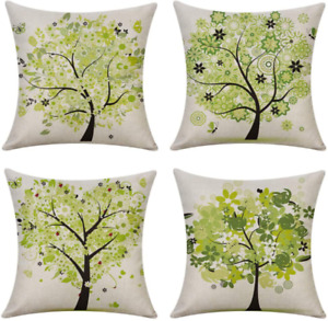Set of 4 Throw Pillow Covers Green Trees Printed Outdoor Pillowcases 18x18 Sofa