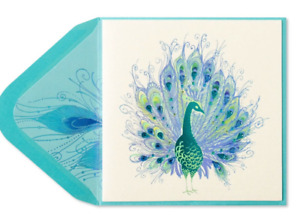 Papyrus Blank Card Foil Embossed Peacock with brilliant feather train Gems