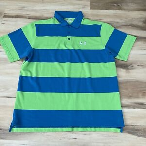 Under Armour Golf Polo Shirt Mens XL Green Striped Heatgear Stretch $22.88