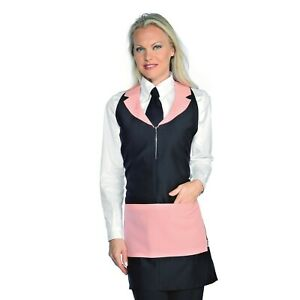 Waiter Apron Madeira Black And Pink with Zip Isacco Uniform BAR $20.93