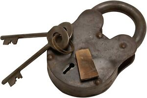 2quot; Antique Style Lock Iron with Brass With Skeleton 2 Keys Padlock and Keys