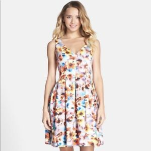 NEW Betsey Johnson Womens Size 8 Pink Floral Scuba Fit Flare Mini Dress NWT $75.00