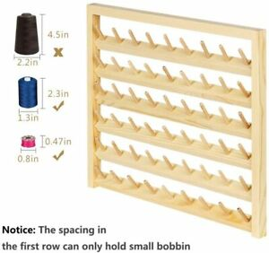 54 Spool HAITRAL Wooden Sewing Wall Mounted Sewing Thread Holder with Hooks $15.99