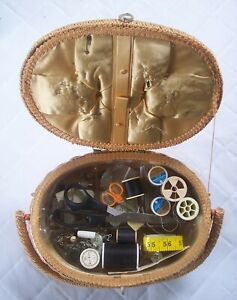 VINTAGE OVAL DRITZ WICKER SEWING BASKET WITH TRAY amp; CONTENTS $29.00