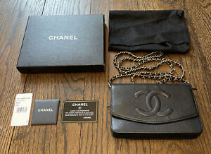 AUTHENTIC CHANEL Black Caviar Leather Timeless WOC Wallet On Chain Flap $2050.00