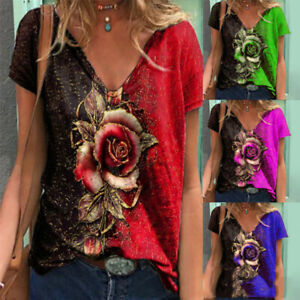 Women Short Sleeve V Neck Floral Printing T Shirt Casual Blouse Loose Tunic Tops $16.12