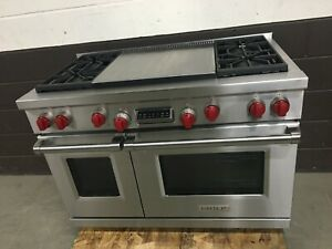 Wolf DF484DG 48 Dual Fuel Range Professional 4 Burners Double Griddle