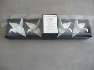 NWT WILLIAMS SONOMA WHITE PORCELAIN CRANE ORIGAMI CHOPSTICK RESTS SET OF 4