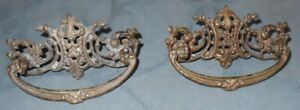 Pair of Ornate Antique Thicker Metal Drawer Pulls