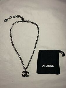 New CHANEL Gripoix CC Dangling Pendent Charm Metal Chain Necklace $599.99