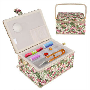 Rose Flower Pattern Sewing Basket Sewing Kit Storage Box With Removable Tray $30.47