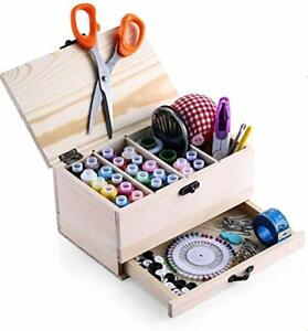 Wooden Basket Sewing Boxes Accessories For Adult Kids Beginner Professional $27.11