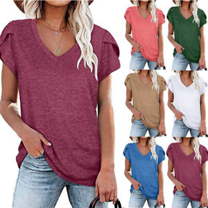 Women V Neck Short Sleeve Tee Casual Plus Size Loose Tops Blouse Solid T Shirt