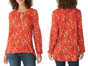 NWT $59 Women#x27;s LUCKY BRAND Keyhole Red Floral BOHO Peasant FALL Top M L XL NEW