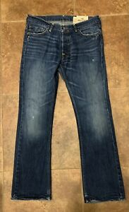 HOLLISTER Mens Jeans BOOMER Low Rise Slim Boot Cut Lightly Distressed 33x32 $28.50