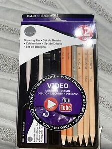 DALER ROWNEY Simply Pencil Drawing Tin Set 12 Pieces BRAND NEW MSRP $34 $13.47