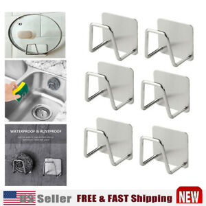 2 4 6X Adhesive Sponge Holder Sink Caddy for Kitchen Accessories Stainless Steel