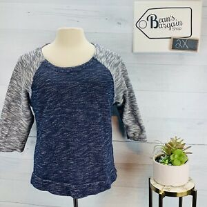 Coldwater Creek Womens Marled Sweater Blue Gray 3 4 Sleeve Knit Plus Sz 2X 20 22 $25.49