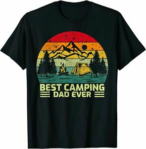 Mens Funny Vintage Best Camping Dad Ever Father#x27;s Day T Shirt