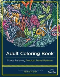 Adult Coloring Book: Stress Relieving Tropical Travel Patterns Like New Used... $17.33