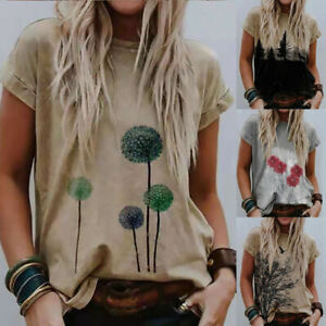 Women Summer Crew Neck Short Sleeve T Shirt Floral Casual Plus Loose Tops Blouse