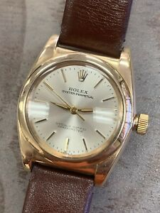 1963 Rolex Oyster Perpetual Chronometer Bubbleback 3131 Solid 14K Gold Watch $5999.00