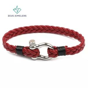 Multilayer Mens Braided Leather Bracelet 8 Handwoven Stainless Steel Clasp $9.79