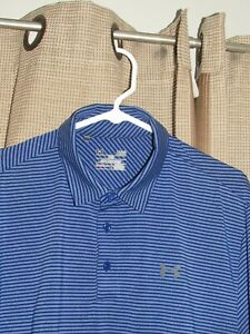 UNDER ARMOUR Golf Polo Shirt Mens Large Blues Stripe Heat Loose Perfect $13.99
