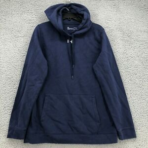 Under Armour Hoodie Large Mens size Blue Hooded Pullover Coldgear Loose Fit $22.99