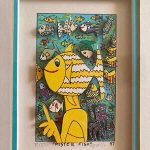 James Rizzi 1997 Mister Fish Autographed Framed