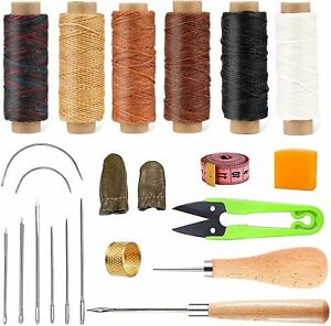 Leather Working Tools Kit 21 Pieces Leather Sewing Kit 6 Color Waxed Thread $21.49