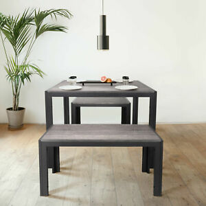 Zenvida Dining Set Table and Two Benches Modern Style Seats 4