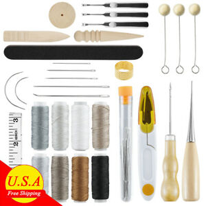 Upholstery Sail Carpet Leather Canvas Repair Curved Hand Sewing Needles Kit NEW $8.99