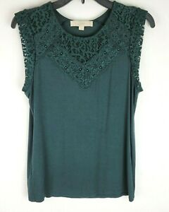 Ann Taylor Loft Womens Size S Green Lace Accent Stretchy Sleeveless Top Blouse $16.76