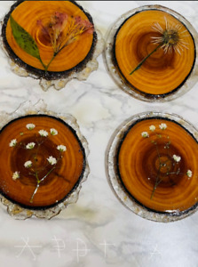 Handmade Wooden Coasters With Flowers Covered With Resin
