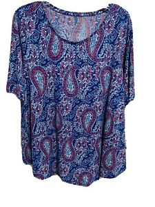 Chicos Size 2 12 14 or L The Ultimate Tee Paisley blouse $13.50
