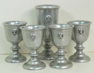 Wilton Armetale Pewter 5 Lot RWP BICENTENNIAL LIBERTY BELL Goblet Cup 1976 VTG $74.49