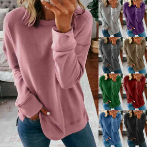 Women Casual Long Sleeve T Shirt Blouse Loose Pullover Tunic Solid Comfy Top Tee
