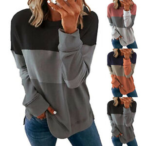 Women Casual Stitching Color T Shirt O Neck Long Sleeve Blouse Loose Tunic Tops