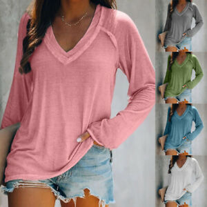 Women Fall Casual Solid Blouse V Neck Long Sleeve T Shirt Loose Tunic Comfy Tops
