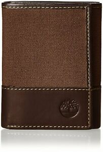 Timberland Men#x27;s Baseline Canvas Genuine Leather Trifold Wallet $18.95