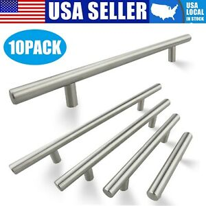 10Pack Brushed Nickel Kitchen Cabinet Pulls Stainless Steel Drawer T Bar Handles $11.99