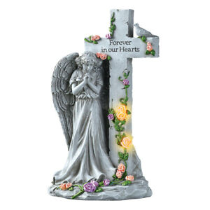 Angel with Light Up Roses Stone Like Memorial $16.99
