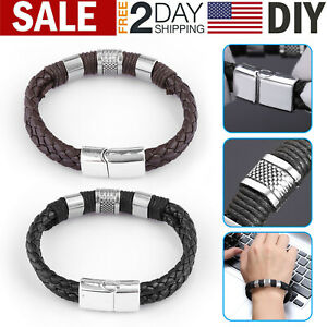 Black Brown Braided Leather Silver Stainless Steel Cuban Chain Mens Bracelet $5.99