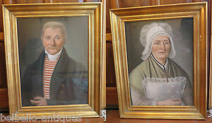 Pair Of Antique Portraits A Pastel Man Woman Husband amp; Wife Beginning #x27;800 $5743.98