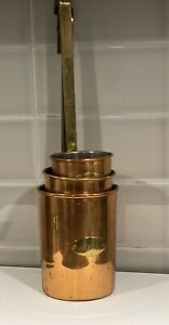 Set Of 3 Antique Copper Brass Handle Measuring Cup Pitcher $49.00