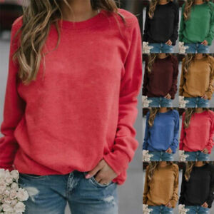 Womens Crew Neck Long Sleeve T Shirt Casual Solid Blouse Loose Comfy Tunic Tops $13.99