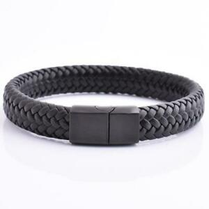Braided Leather Bracelet For Men Stainless Steel Black Magnetic Clasp Bangle New $12.99
