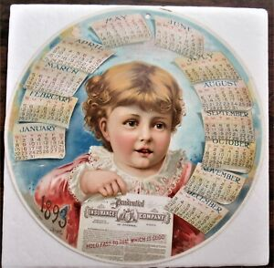 Prudential 1893 Chromolithographic Round Hanging Calendar W Muncy Pa Agent Info $34.99